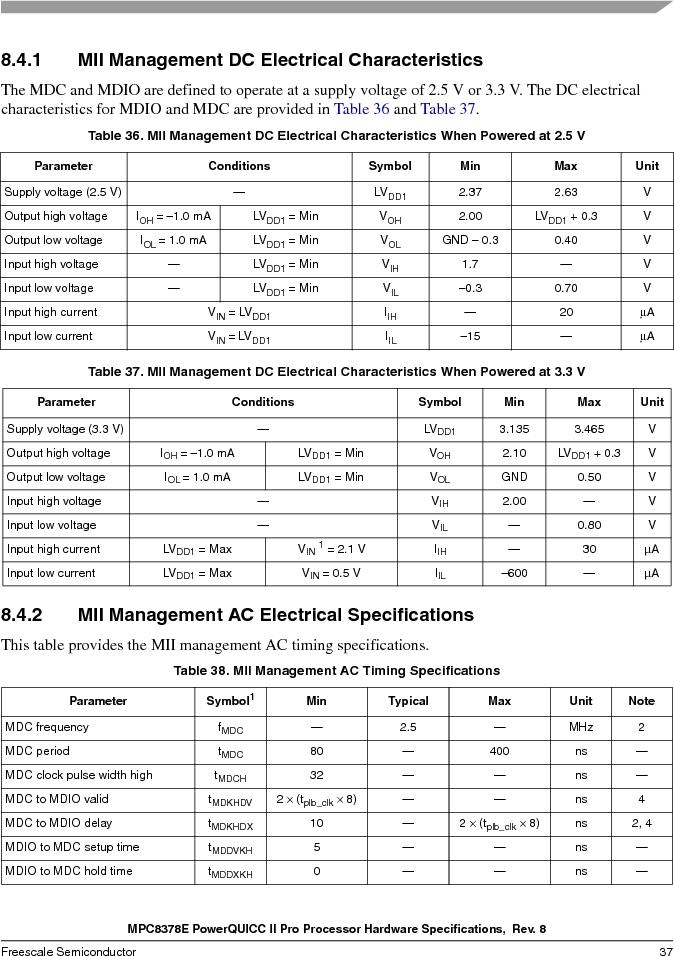 MPC8378VRAGDA ,Freescale Semiconductor厂商,MPU POWERQUICC II 400MHZ 689PBGA, MPC8378VRAGDA datasheet预览  第37页