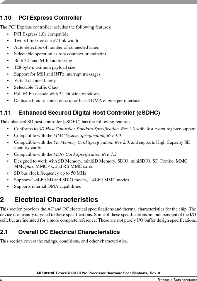 MPC8378VRAGDA ,Freescale Semiconductor厂商,MPU POWERQUICC II 400MHZ 689PBGA, MPC8378VRAGDA datasheet预览  第6页