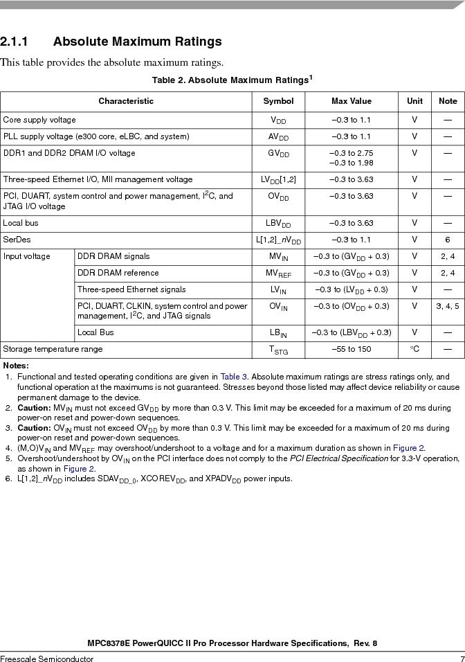 MPC8378VRAGDA ,Freescale Semiconductor厂商,MPU POWERQUICC II 400MHZ 689PBGA, MPC8378VRAGDA datasheet预览  第7页