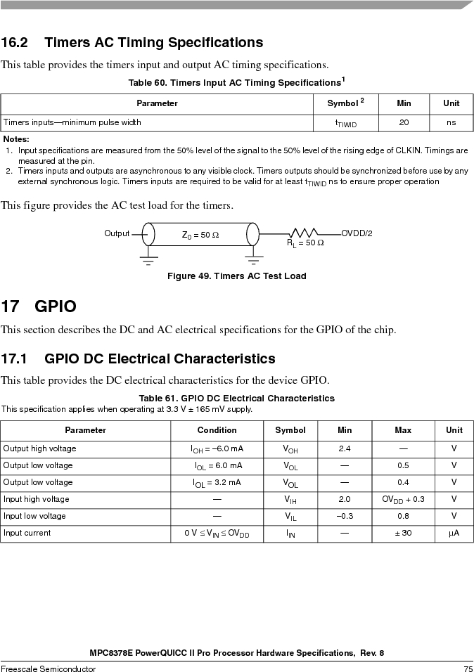 MPC8378VRAGDA ,Freescale Semiconductor厂商,MPU POWERQUICC II 400MHZ 689PBGA, MPC8378VRAGDA datasheet预览  第75页