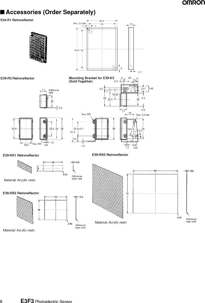 E3F3-R86 ,Omron厂商,RETRO3M SEMMSR,CN M12,PNPNONUL, E3F3-R86 datasheet预览  第6页