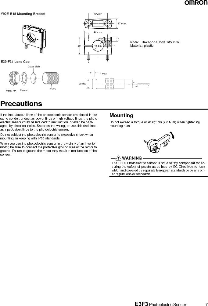 E3F3-R86 ,Omron厂商,RETRO3M SEMMSR,CN M12,PNPNONUL, E3F3-R86 datasheet预览  第7页