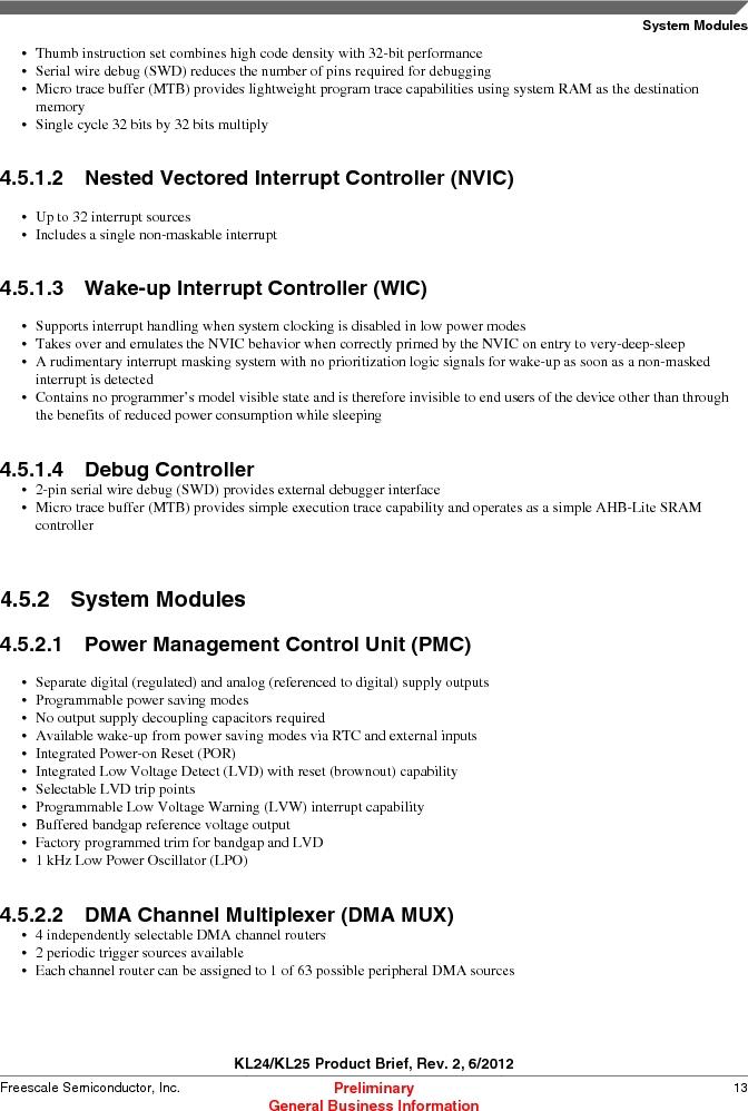 MKL25Z128VLK4 ,Freescale Semiconductor厂商,IC MCU 32BIT 128KB FLASH 80LQFP, MKL25Z128VLK4 datasheet预览  第13页