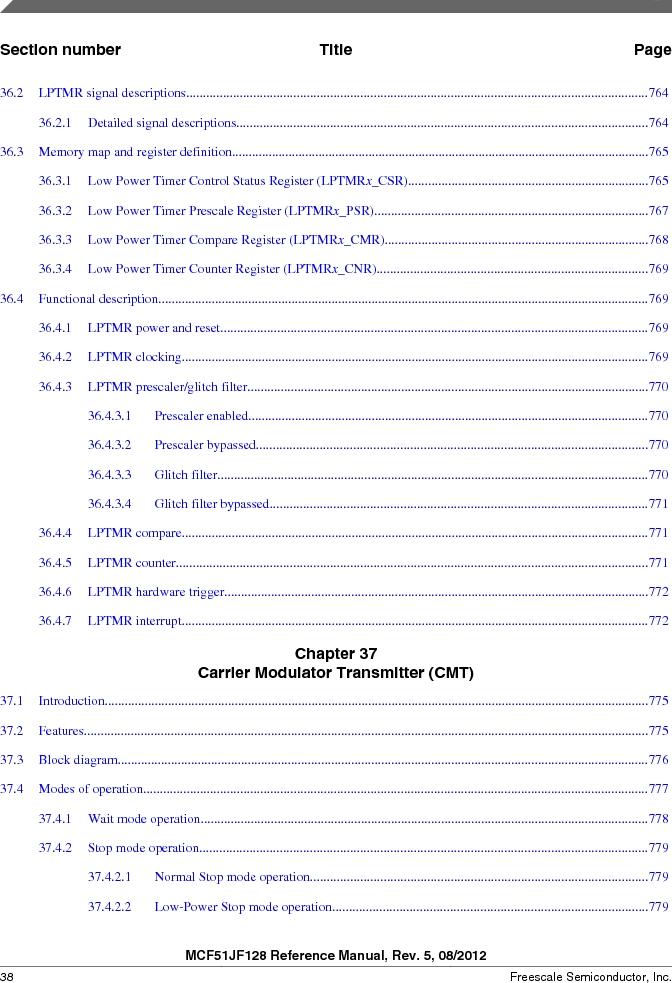 MCF51JF32VHS ,Freescale Semiconductor厂商,IC MCU 32BIT 32KB FLASH 44LGA, MCF51JF32VHS datasheet预览  第38页