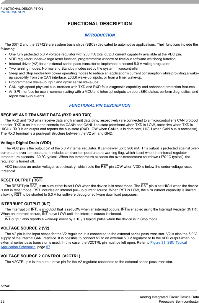 MC33742PEG ,Freescale Semiconductor厂商,CAN Interface IC SBC-E-HS-CAN, MC33742PEG datasheet预览  第22页