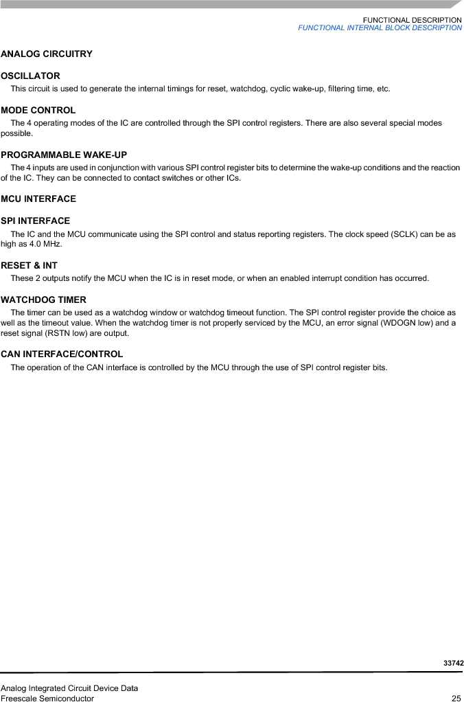 MC33742PEG ,Freescale Semiconductor厂商,CAN Interface IC SBC-E-HS-CAN, MC33742PEG datasheet预览  第25页