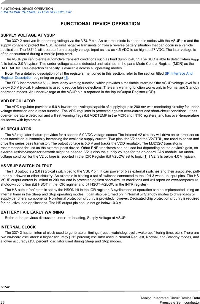 MC33742PEG ,Freescale Semiconductor厂商,CAN Interface IC SBC-E-HS-CAN, MC33742PEG datasheet预览  第26页