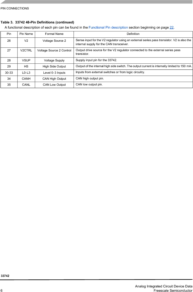 MC33742PEG ,Freescale Semiconductor厂商,CAN Interface IC SBC-E-HS-CAN, MC33742PEG datasheet预览  第6页