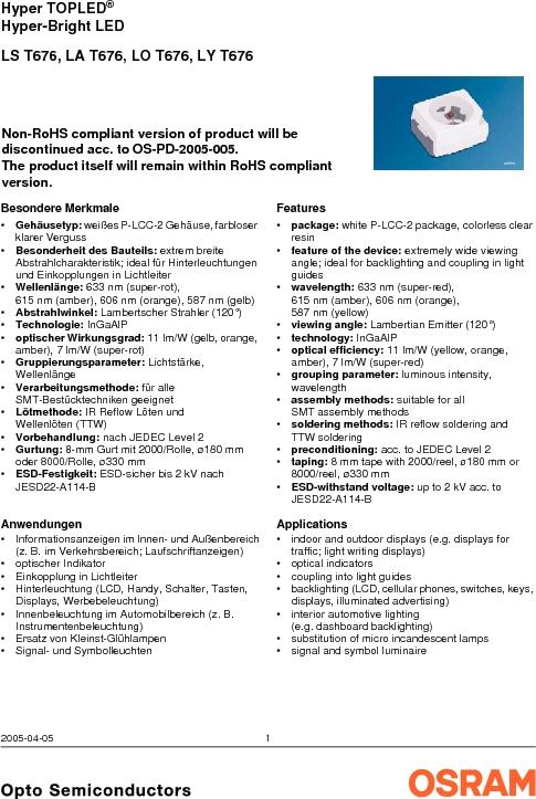 LY G67B-ABCA-26-1-Z ,OSRAM Opto Semiconductors Inc厂商,LED 587NM YELLOW CLEAR 6PLCC, LY G67B-ABCA-26-1-Z datasheet预览  第1页