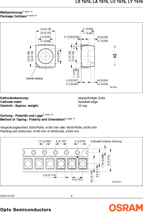 LY G67B-ABCA-26-1-Z ,OSRAM Opto Semiconductors Inc厂商,LED 587NM YELLOW CLEAR 6PLCC, LY G67B-ABCA-26-1-Z datasheet预览  第9页