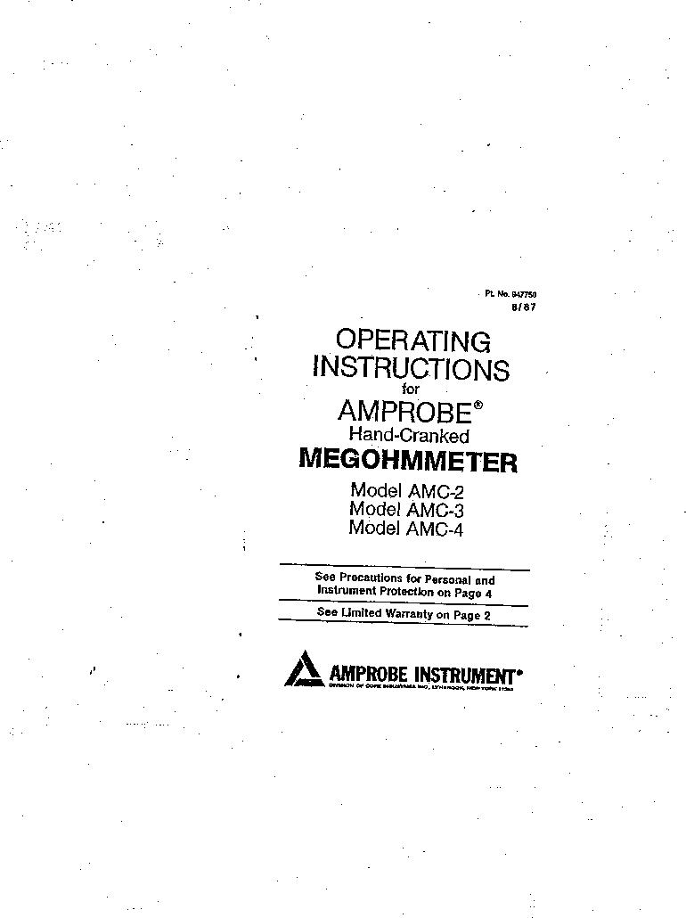 AMC-3 ,Amprobe厂商,MEGOHMMETER HND CRANKD 1000V, AMC-3 datasheet预览  第1页