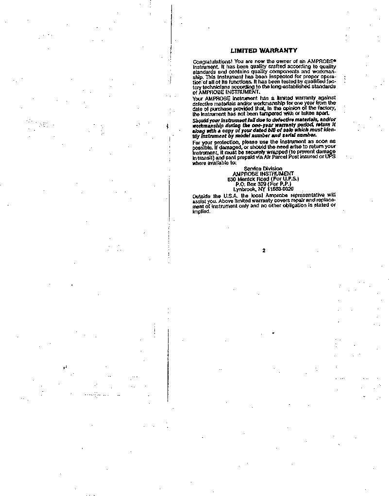 AMC-3 ,Amprobe厂商,MEGOHMMETER HND CRANKD 1000V, AMC-3 datasheet预览  第2页