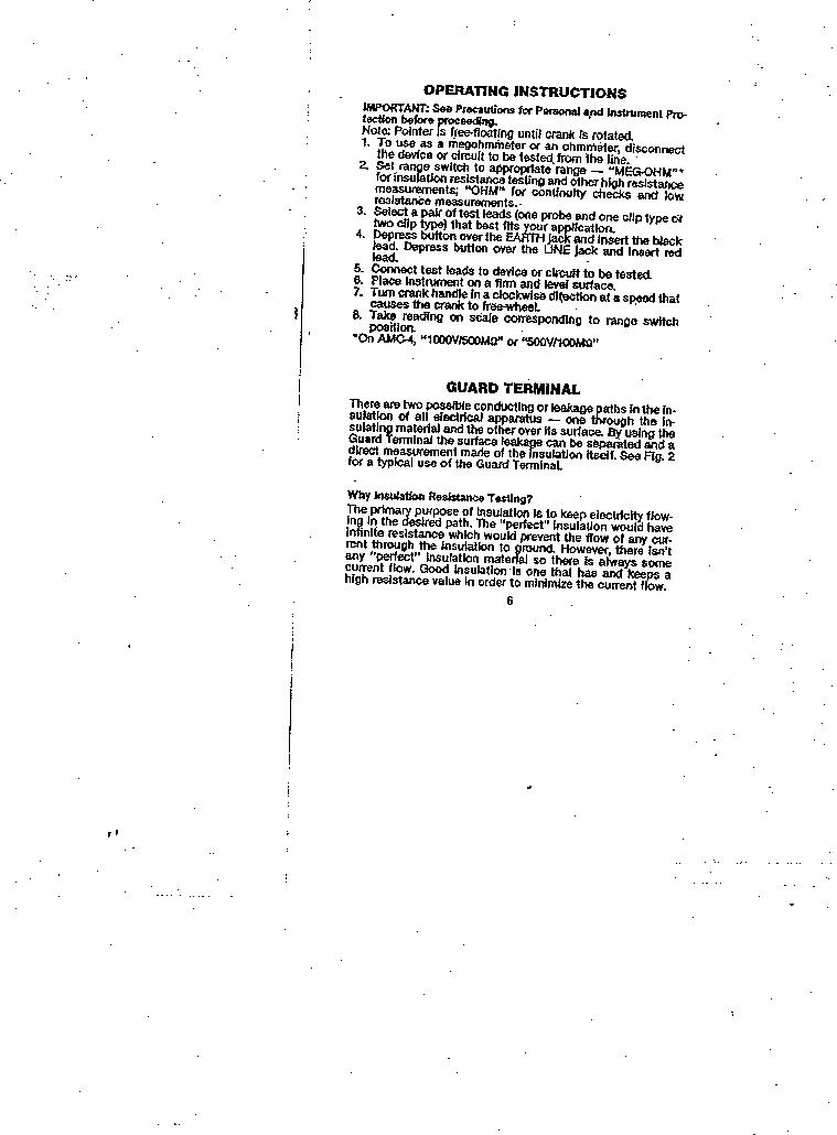 AMC-3 ,Amprobe厂商,MEGOHMMETER HND CRANKD 1000V, AMC-3 datasheet预览  第6页