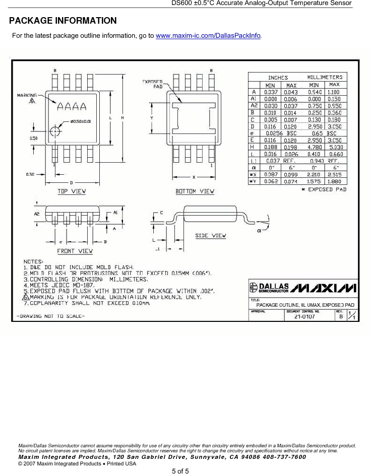 DS600U+T&R ,Maxim Integrated厂商,Board Mount Temperature Sensors .5+/-C Analog-Out, DS600U+T&R datasheet预览  第5页