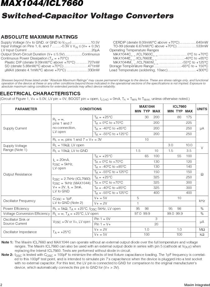 ICL7660AMTV/883B ,Maxim Integrated厂商,Charge Pumps, ICL7660AMTV/883B datasheet预览  第2页