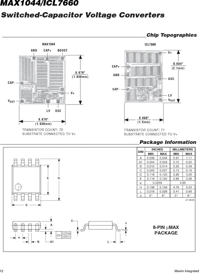 ICL7660AMTV/883B ,Maxim Integrated厂商,Charge Pumps, ICL7660AMTV/883B datasheet预览  第12页