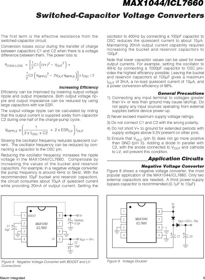 ICL7660AMTV/883B ,Maxim Integrated厂商,Charge Pumps, ICL7660AMTV/883B datasheet预览  第9页