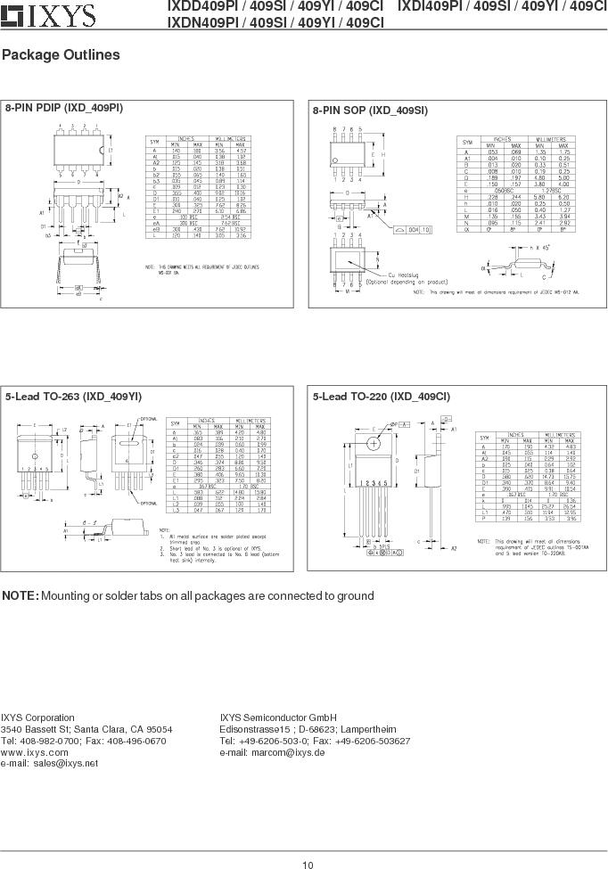 IXDD409CI ,IXYS厂商,IC MOSFET DRVR 9A LOSIDE TO220-5, IXDD409CI datasheet预览  第10页