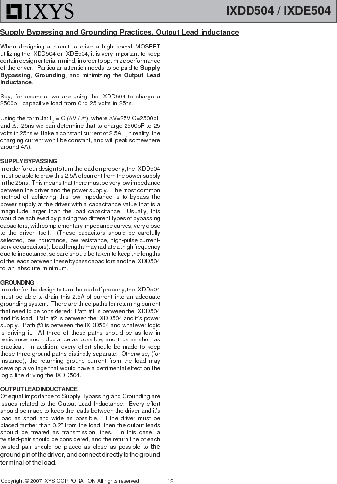 IXDE504SIAT/R ,IXYS厂商,IC GATE DRIVER 4A 8-SOIC, IXDE504SIAT/R datasheet预览  第12页