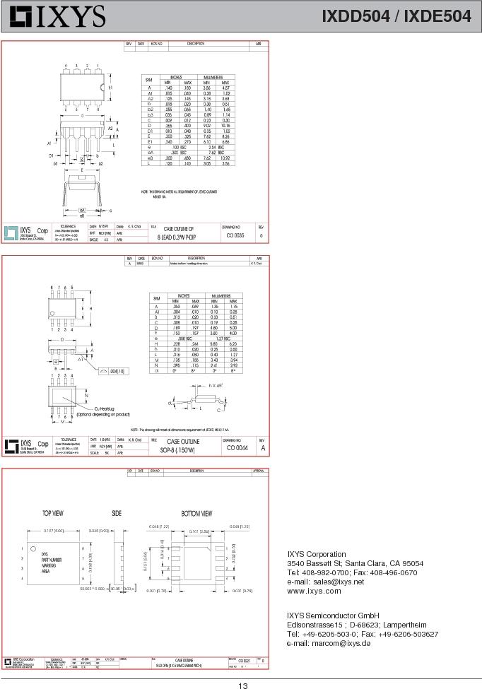 IXDE504SIAT/R ,IXYS厂商,IC GATE DRIVER 4A 8-SOIC, IXDE504SIAT/R datasheet预览  第13页