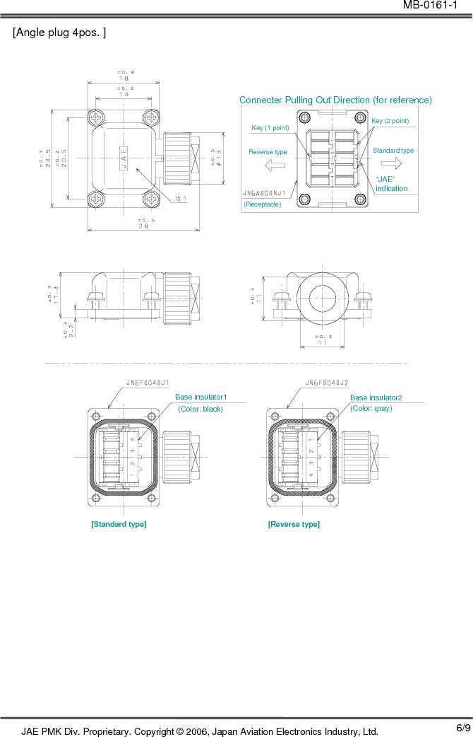 JN6CR07PM1 ,JAE Electronics厂商,CONN RCPT 7PS 28-22AWG CRIMP PIN, JN6CR07PM1 datasheet预览  第6页