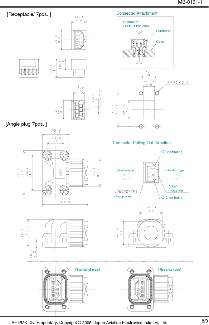 JN6CR07PM1 ,JAE Electronics厂商,CONN RCPT 7PS 28-22AWG CRIMP PIN, JN6CR07PM1 datasheet预览  第8页