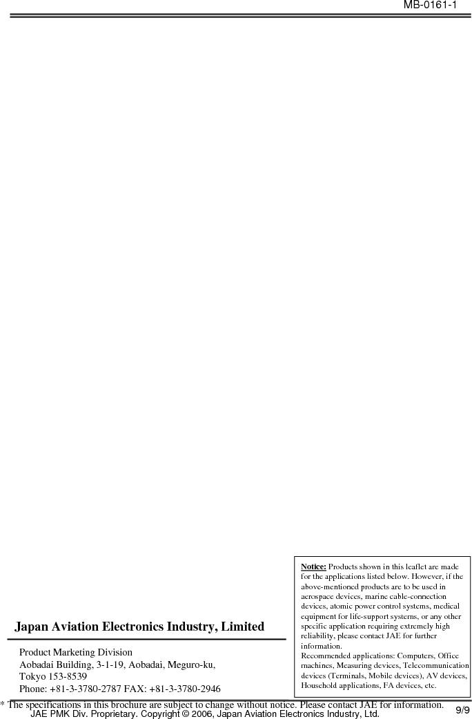 JN6CR07PM1 ,JAE Electronics厂商,CONN RCPT 7PS 28-22AWG CRIMP PIN, JN6CR07PM1 datasheet预览  第9页
