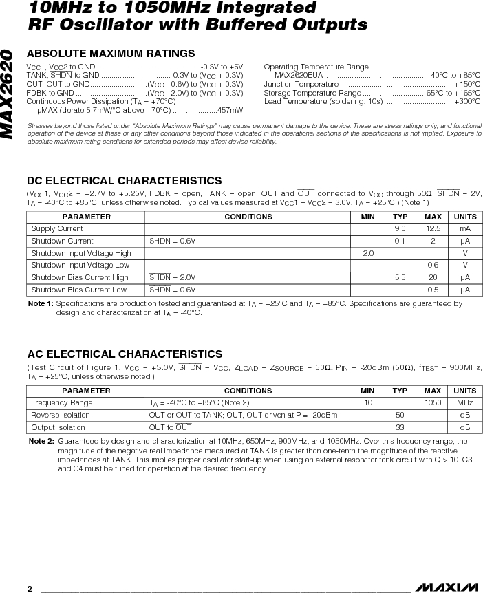 MAX2620EUA-T ,Maxim Integrated厂商,VCO Oscillators 10MHz - 1050MHz RF Oscillator, MAX2620EUA-T datasheet预览  第2页