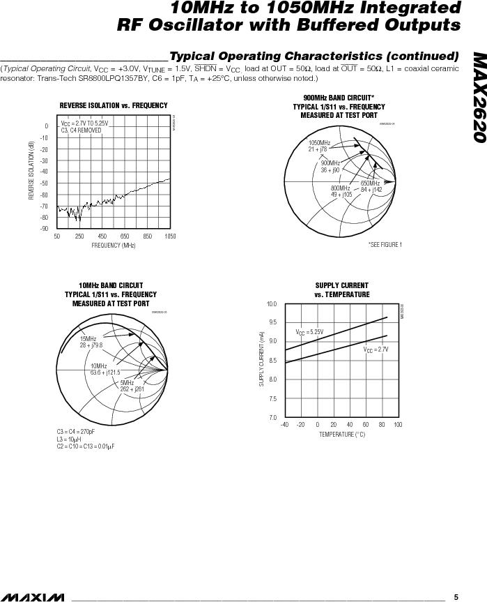 MAX2620EUA-T ,Maxim Integrated厂商,VCO Oscillators 10MHz - 1050MHz RF Oscillator, MAX2620EUA-T datasheet预览  第5页