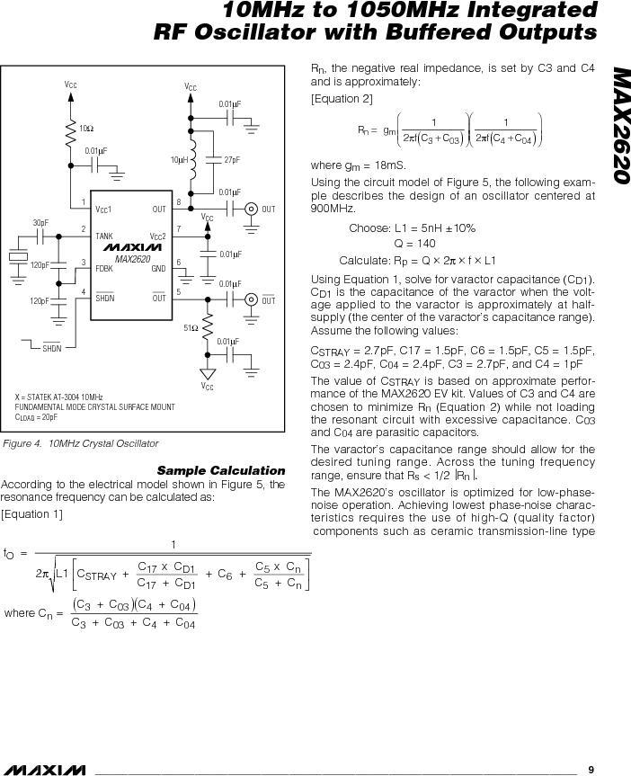 MAX2620EUA-T ,Maxim Integrated厂商,VCO Oscillators 10MHz - 1050MHz RF Oscillator, MAX2620EUA-T datasheet预览  第9页