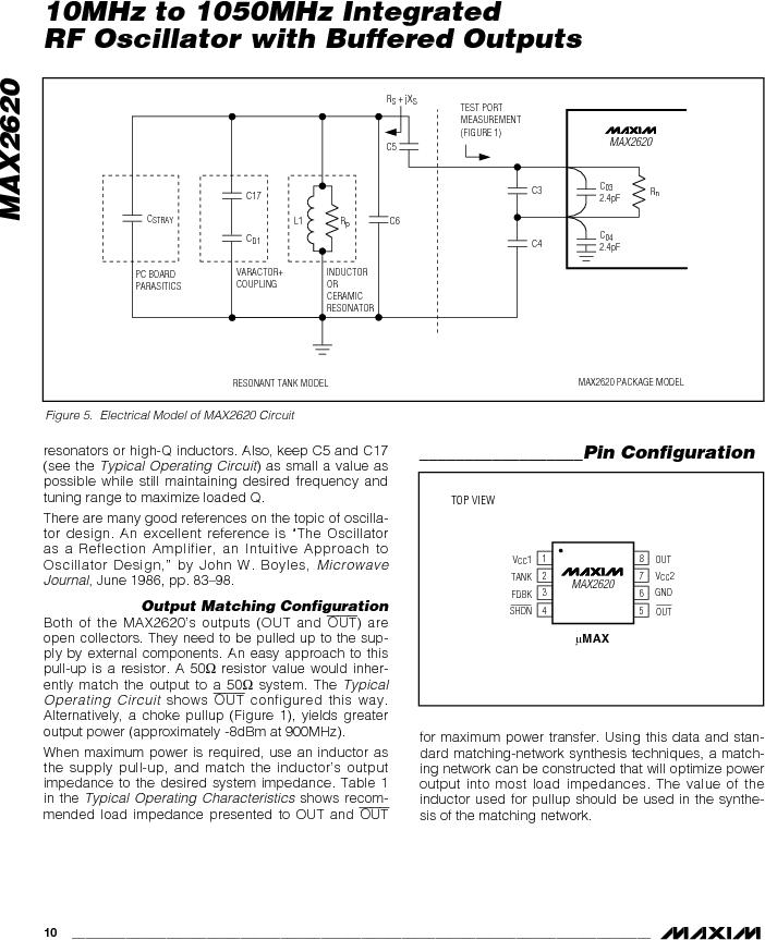MAX2620EUA-T ,Maxim Integrated厂商,VCO Oscillators 10MHz - 1050MHz RF Oscillator, MAX2620EUA-T datasheet预览  第10页