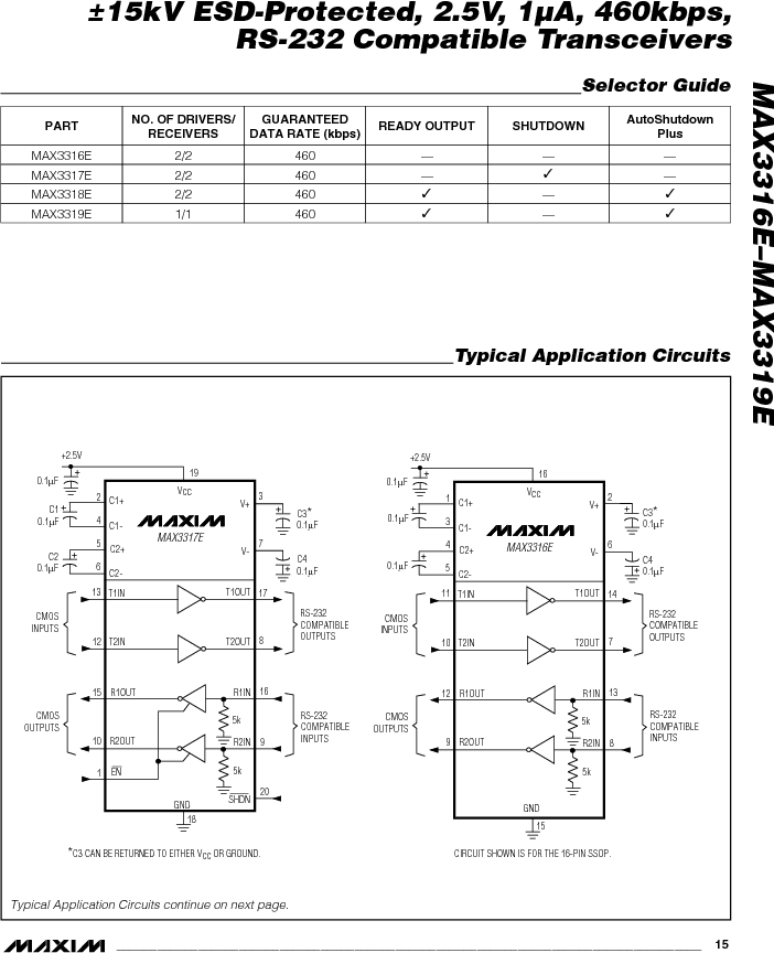 MAX3318EEUP/V+T ,Maxim Integrated厂商,RS-232 Interface IC 15kV ESD-Protected 2.5V 1uA 460kbps RS-232-Compatible Transceivers, MAX3318EEUP/V+T datasheet预览  第15页