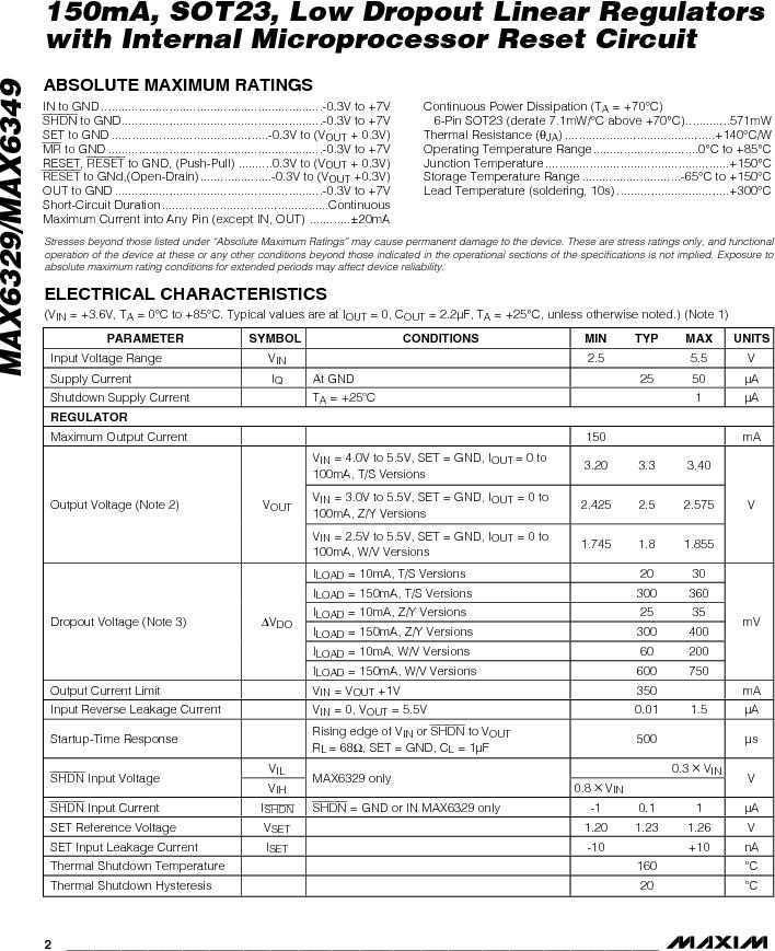 MAX6349TLUT+T ,Maxim Integrated厂商,Low Dropout Regulators - LDO 150mA LOD w/Int MPU Reset Circuit, MAX6349TLUT+T datasheet预览  第2页