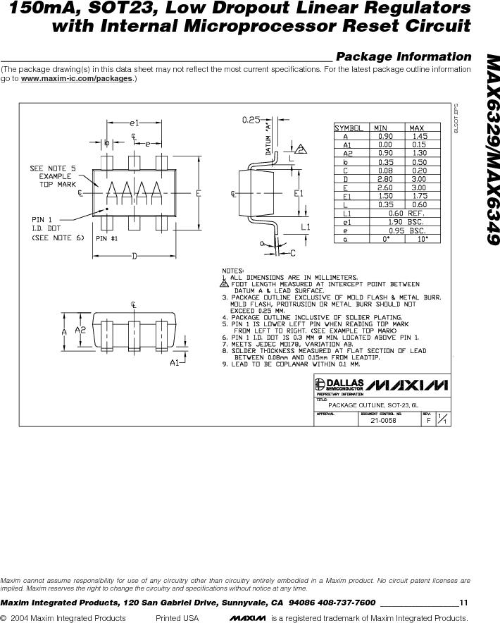 MAX6349TLUT+T ,Maxim Integrated厂商,Low Dropout Regulators - LDO 150mA LOD w/Int MPU Reset Circuit, MAX6349TLUT+T datasheet预览  第11页