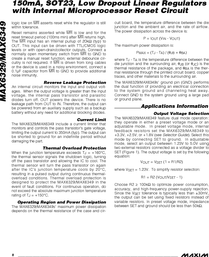MAX6349TLUT+T ,Maxim Integrated厂商,Low Dropout Regulators - LDO 150mA LOD w/Int MPU Reset Circuit, MAX6349TLUT+T datasheet预览  第8页