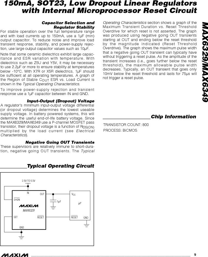 MAX6349TLUT+T ,Maxim Integrated厂商,Low Dropout Regulators - LDO 150mA LOD w/Int MPU Reset Circuit, MAX6349TLUT+T datasheet预览  第9页