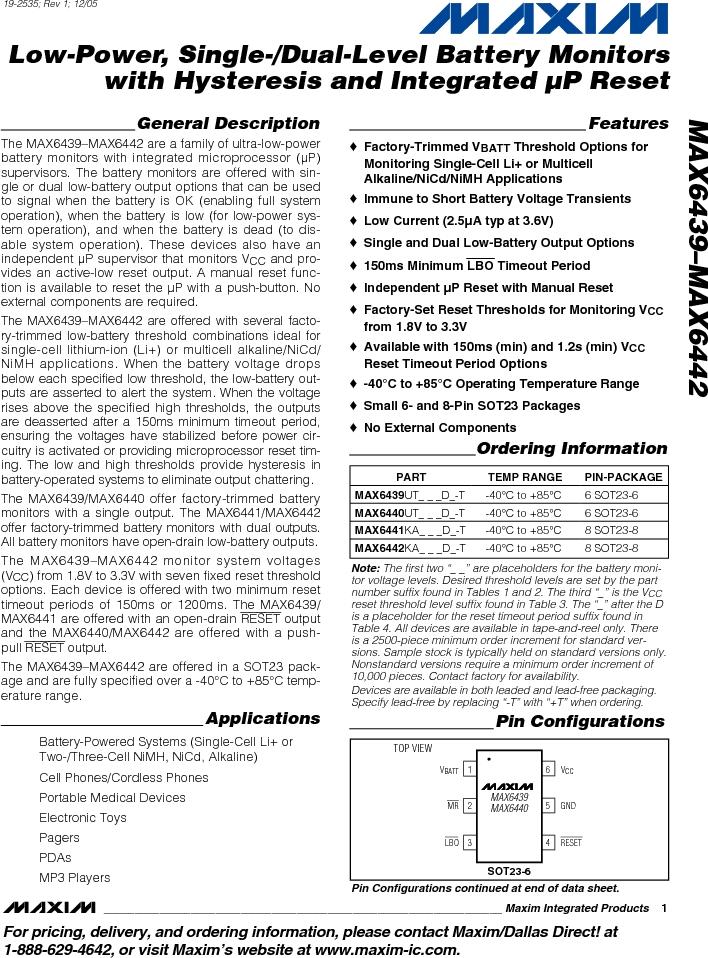 MAX6442KAKSTD3+T ,Maxim Integrated厂商,Battery Management Single Battery Monitor, MAX6442KAKSTD3+T datasheet预览  第1页