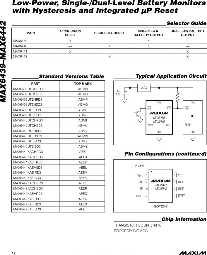 MAX6442KAKSTD3+T ,Maxim Integrated厂商,Battery Management Single Battery Monitor, MAX6442KAKSTD3+T datasheet预览  第12页