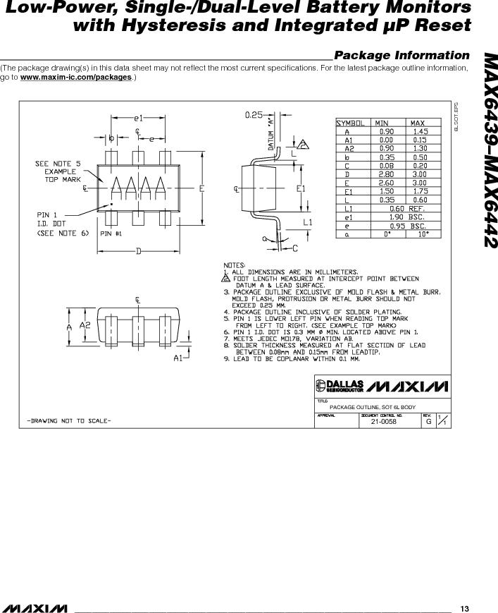 MAX6442KAKSTD3+T ,Maxim Integrated厂商,Battery Management Single Battery Monitor, MAX6442KAKSTD3+T datasheet预览  第13页