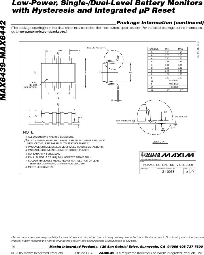 MAX6442KAKSTD3+T ,Maxim Integrated厂商,Battery Management Single Battery Monitor, MAX6442KAKSTD3+T datasheet预览  第14页