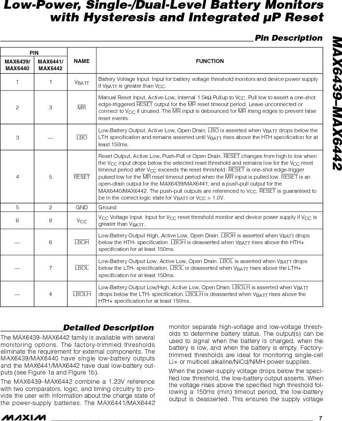 MAX6442KAKSTD3+T ,Maxim Integrated厂商,Battery Management Single Battery Monitor, MAX6442KAKSTD3+T datasheet预览  第7页