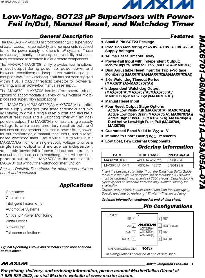 MAX6703AMKA-T ,Maxim Integrated厂商,Supervisory Circuits, MAX6703AMKA-T datasheet预览  第1页
