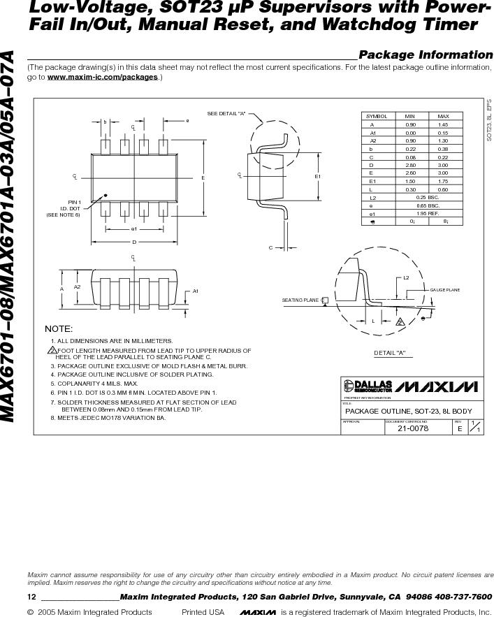 MAX6703AMKA-T ,Maxim Integrated厂商,Supervisory Circuits, MAX6703AMKA-T datasheet预览  第12页