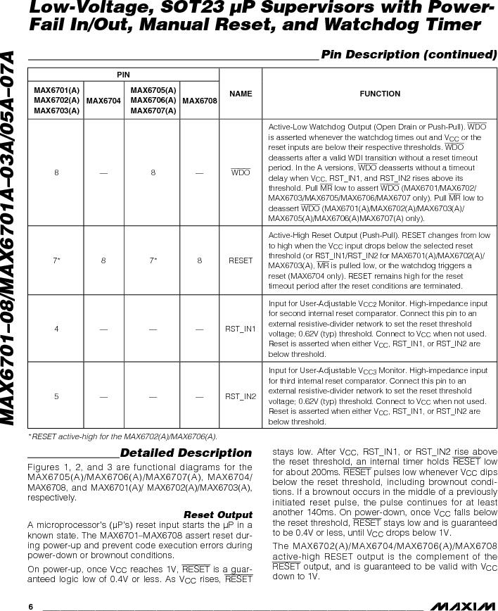 MAX6703AMKA-T ,Maxim Integrated厂商,Supervisory Circuits, MAX6703AMKA-T datasheet预览  第6页