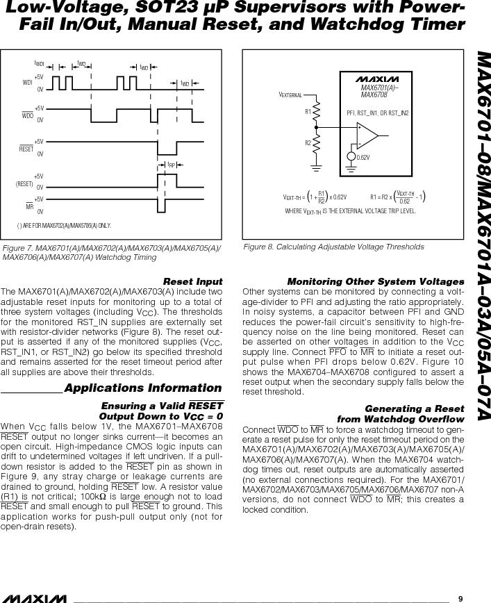 MAX6703AMKA-T ,Maxim Integrated厂商,Supervisory Circuits, MAX6703AMKA-T datasheet预览  第9页