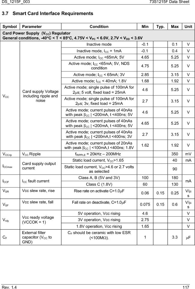 73S1215F-44IM/F/P ,Maxim Integrated厂商,IC SMART CARD READER PROG 44-QFN, 73S1215F-44IM/F/P datasheet预览  第117页