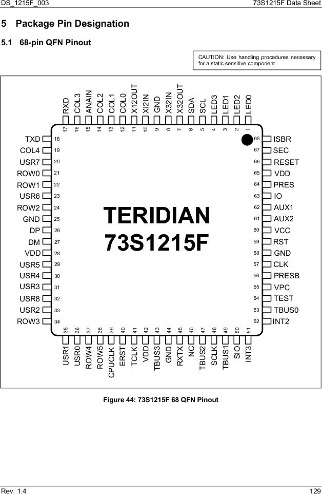 73S1215F-44IM/F/P ,Maxim Integrated厂商,IC SMART CARD READER PROG 44-QFN, 73S1215F-44IM/F/P datasheet预览  第129页