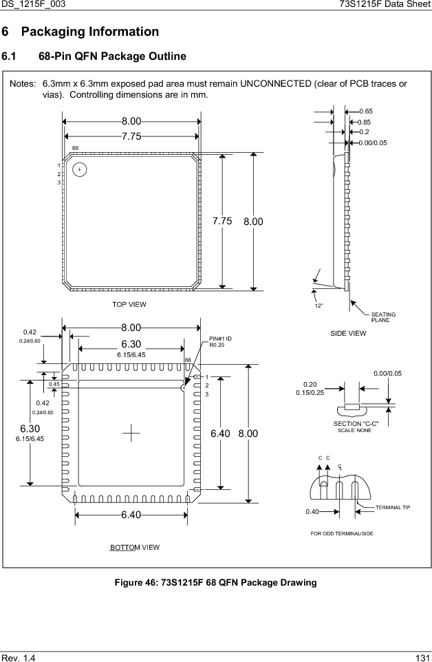 73S1215F-44IM/F/P ,Maxim Integrated厂商,IC SMART CARD READER PROG 44-QFN, 73S1215F-44IM/F/P datasheet预览  第131页