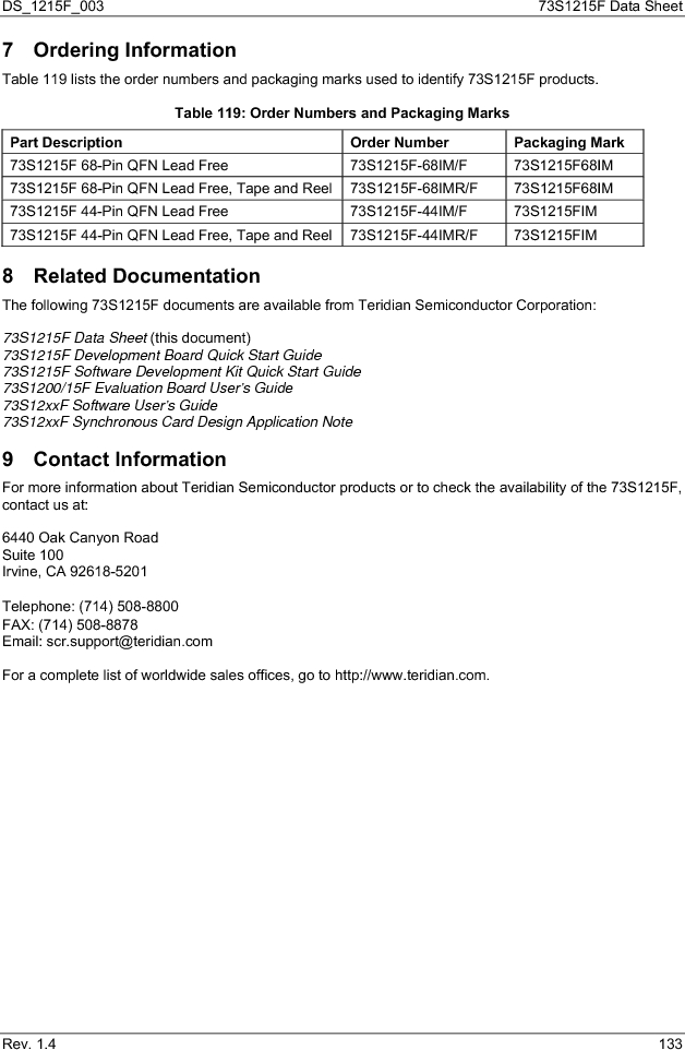 73S1215F-44IM/F/P ,Maxim Integrated厂商,IC SMART CARD READER PROG 44-QFN, 73S1215F-44IM/F/P datasheet预览  第133页