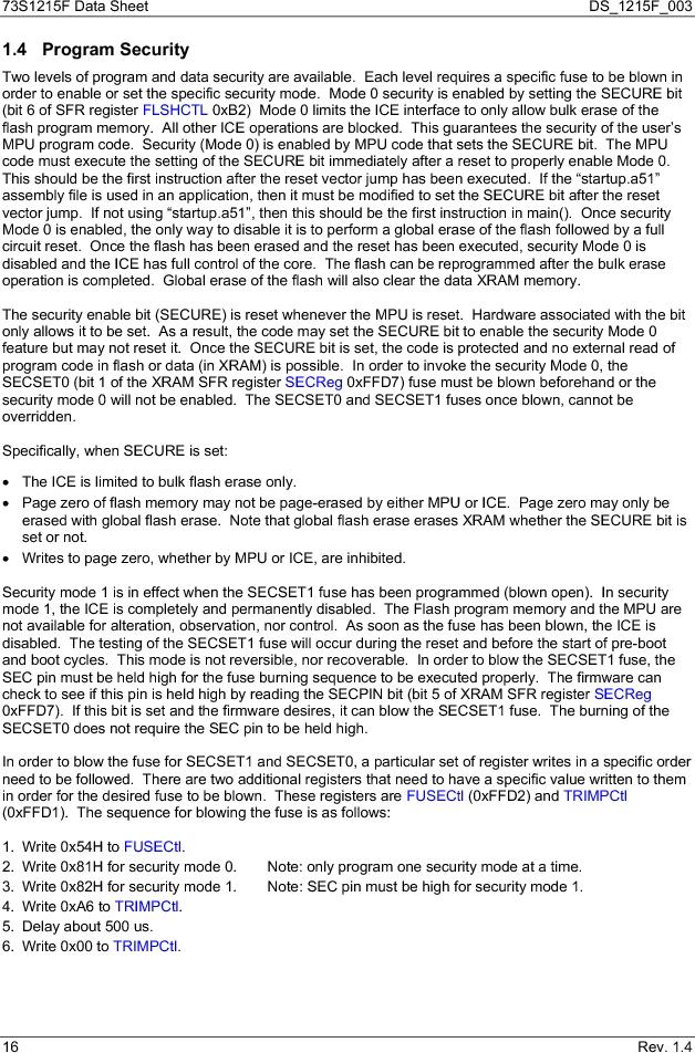 73S1215F-44IM/F/P ,Maxim Integrated厂商,IC SMART CARD READER PROG 44-QFN, 73S1215F-44IM/F/P datasheet预览  第16页